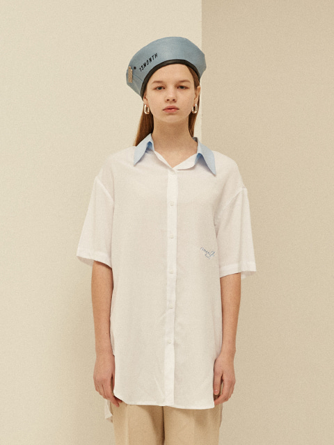 BELTED HALF LONG SHIRT (WHITE)