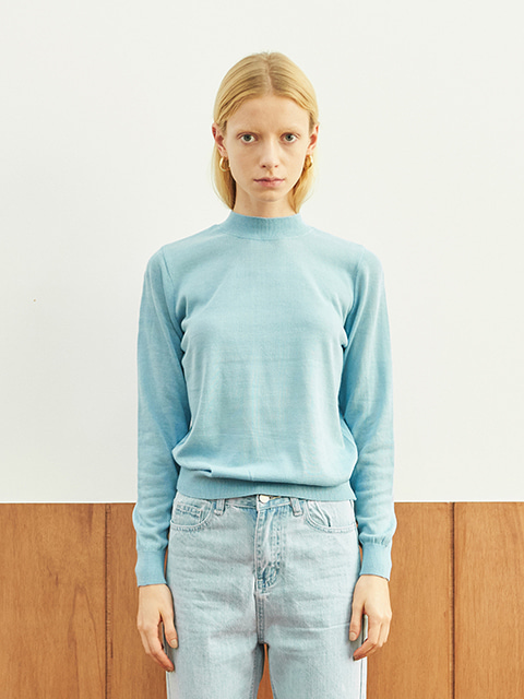 HALF NECK LONG SLEEVE KNIT (BLUE)
