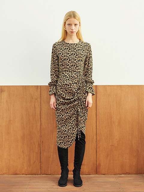 LEOPARD SHIRRING ONE PIECE (BROWN)