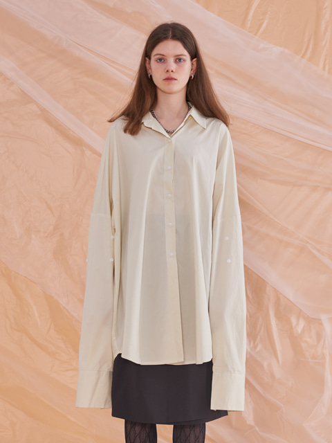 OVERSIZE SOLID LONG SLEEVE SHIRT (IVORY)
