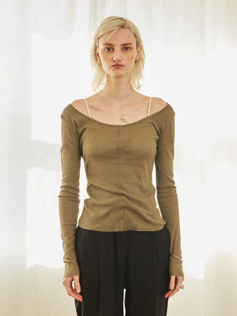 DEEP ROUND LONG SLEEVE T (KHAKI)
