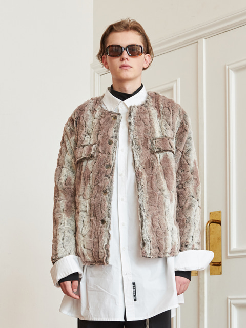 ROUND COLLAR FUR JACKET (BROWN)