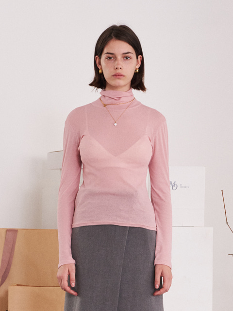 SEE-THROUGH TURTLENECK T-SHIRT (PINK)