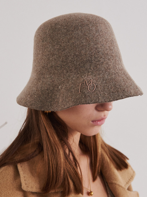 FELT BUCKET HAT WITH LOGO (BEIGE)