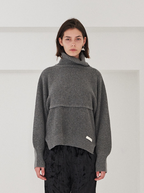 SEPARABLE VEST TURTLENECK SWEATER (GRAY)