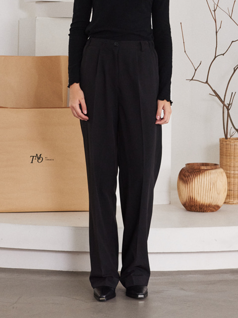 LOGO WIDE LEG PANTS (BLACK)