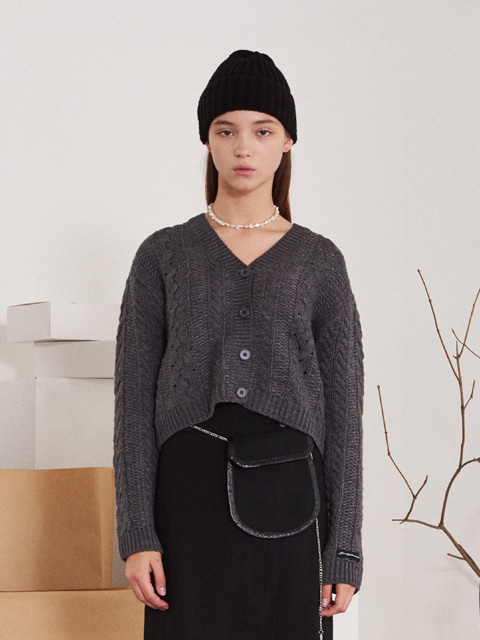 TWISTED SHORT WOOL CARDIGAN (GRAY)