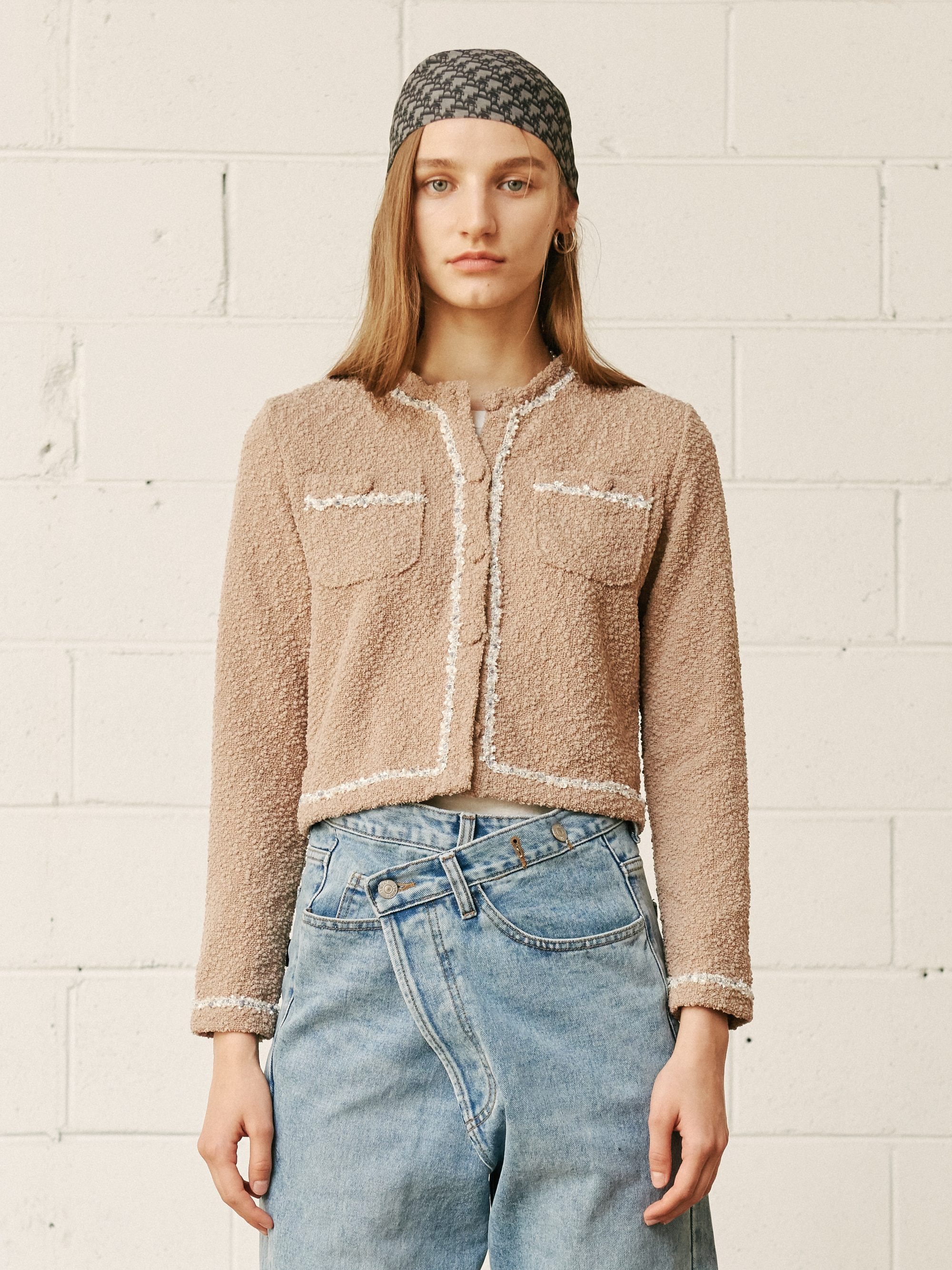 FRINGED TWEED JACKET (BEIGE)