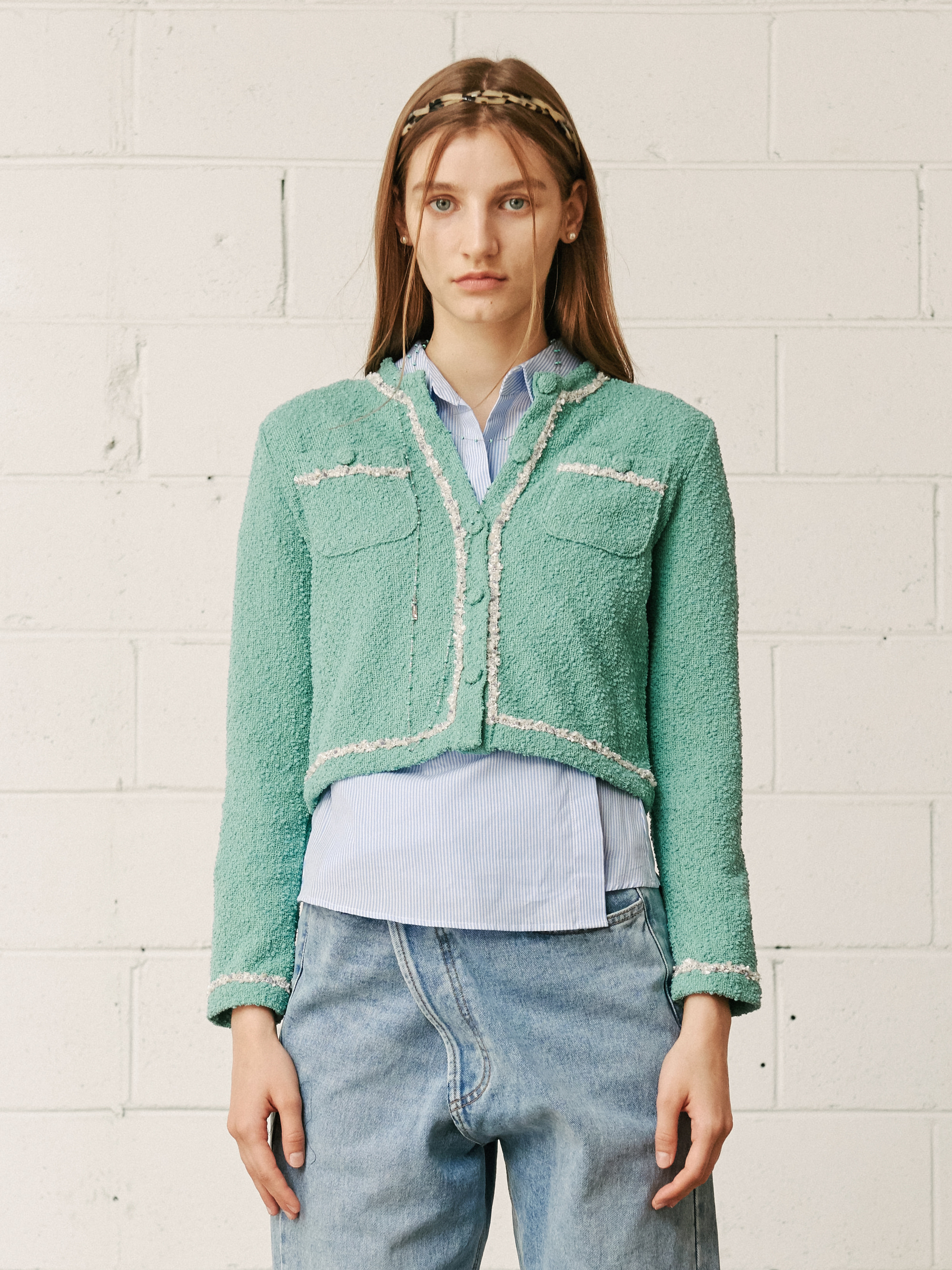 FRINGED TWEED JACKET (MINT)