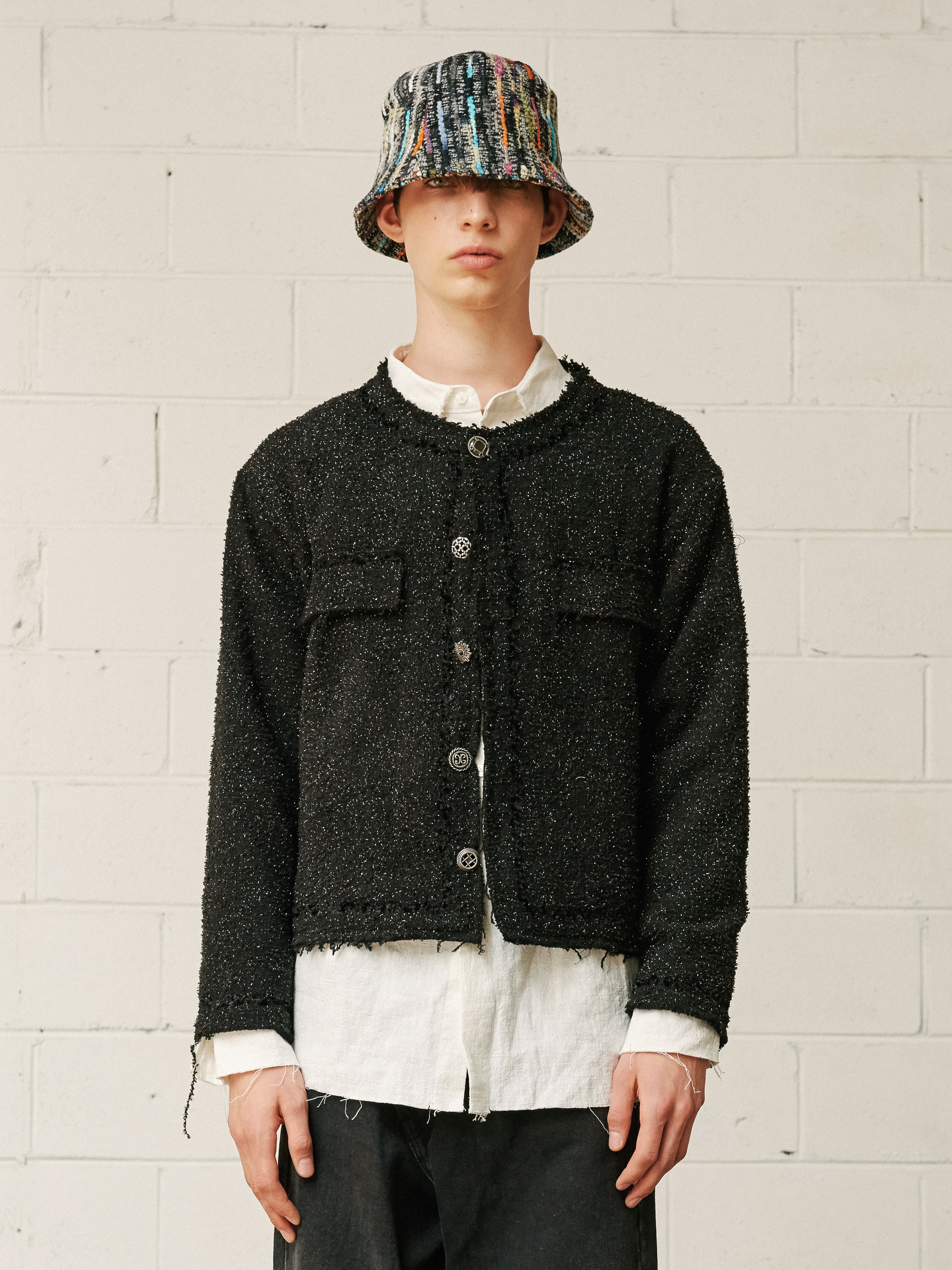 SEQUIN TWEED SETUP JACKET (BLACK)