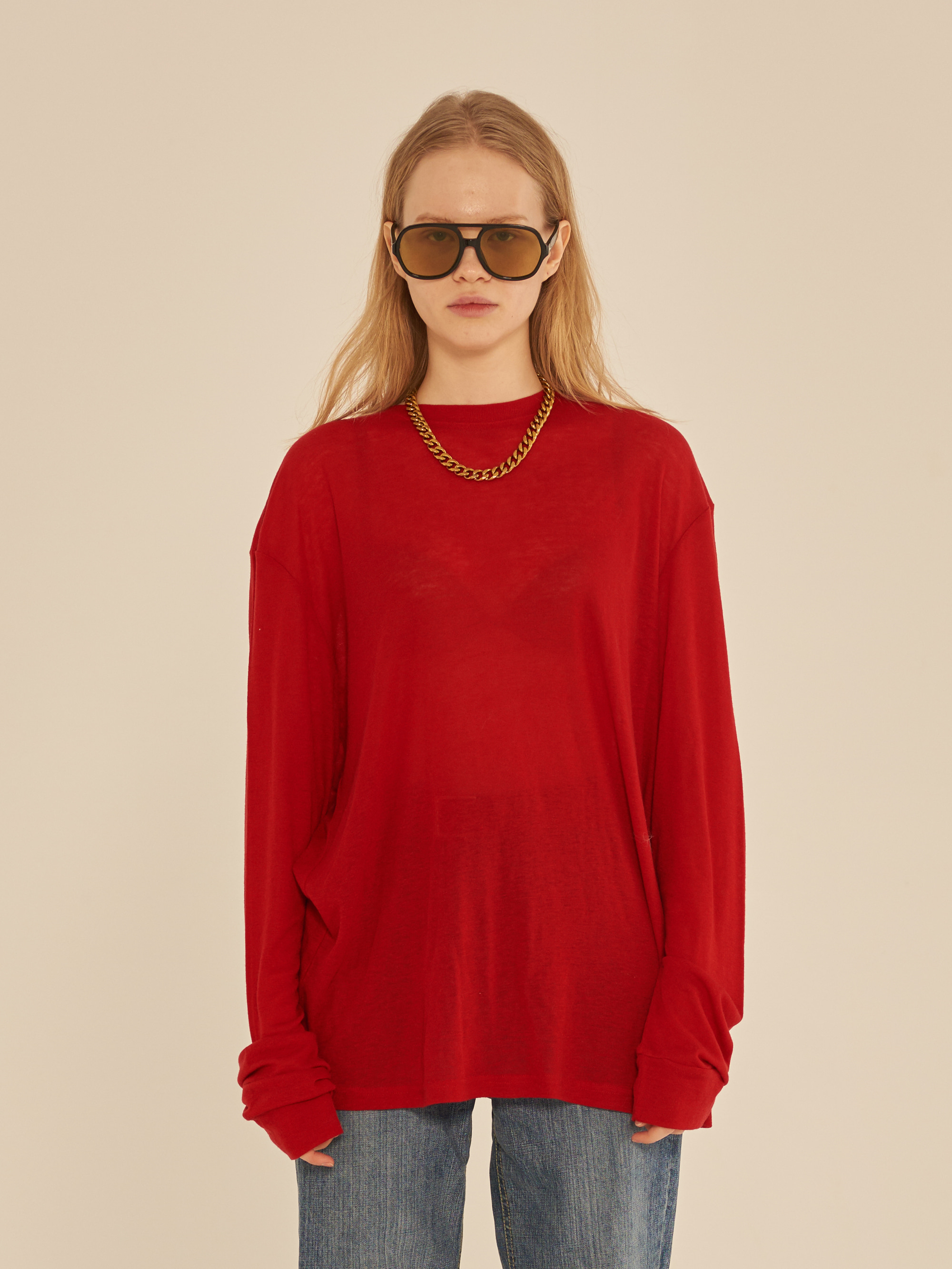 LONG SLEEVE SEE-THROUGH T-SHIRT (RED)