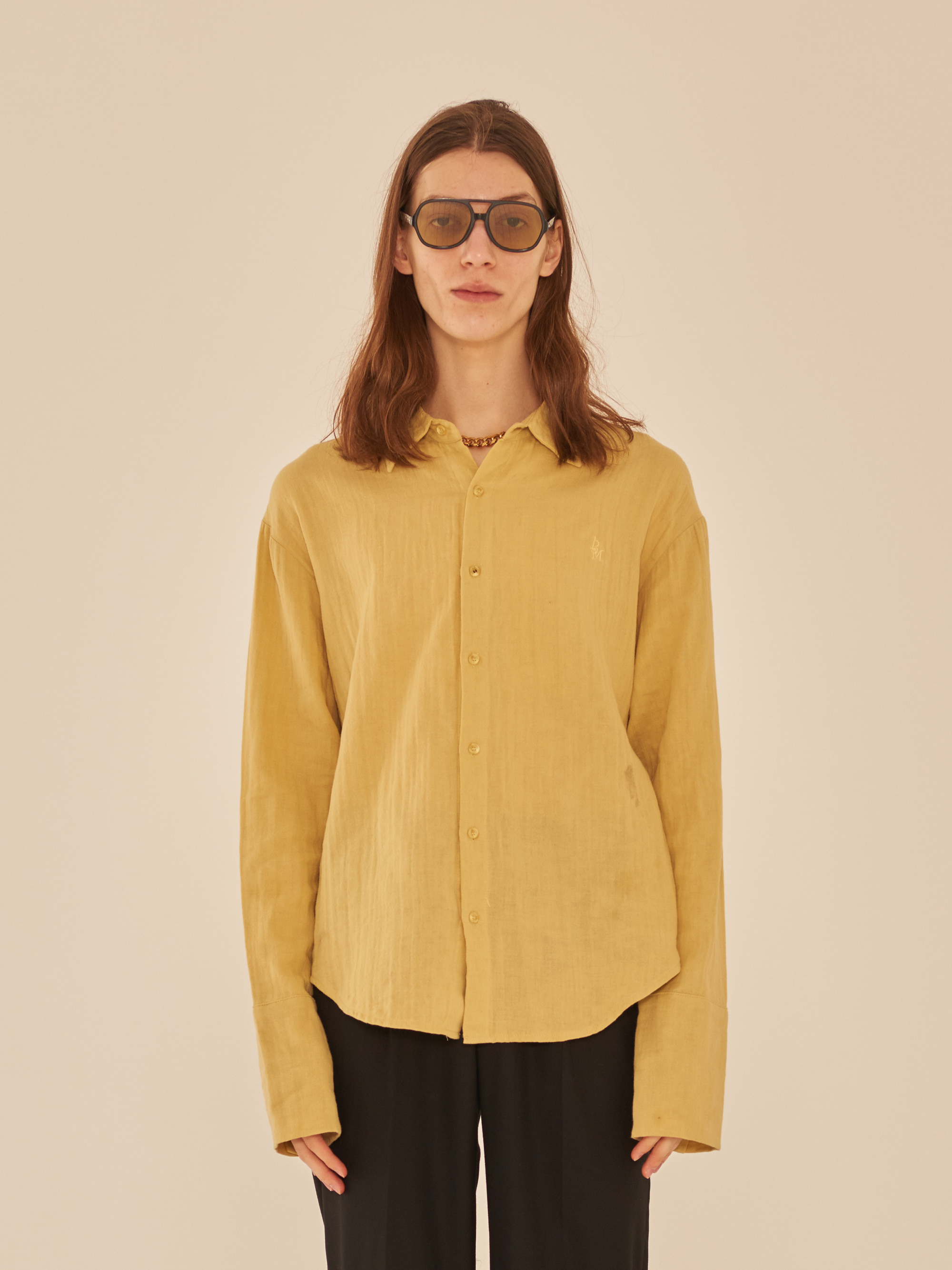 LONG SLEEVE LINEN SHIRT (YELLOW)