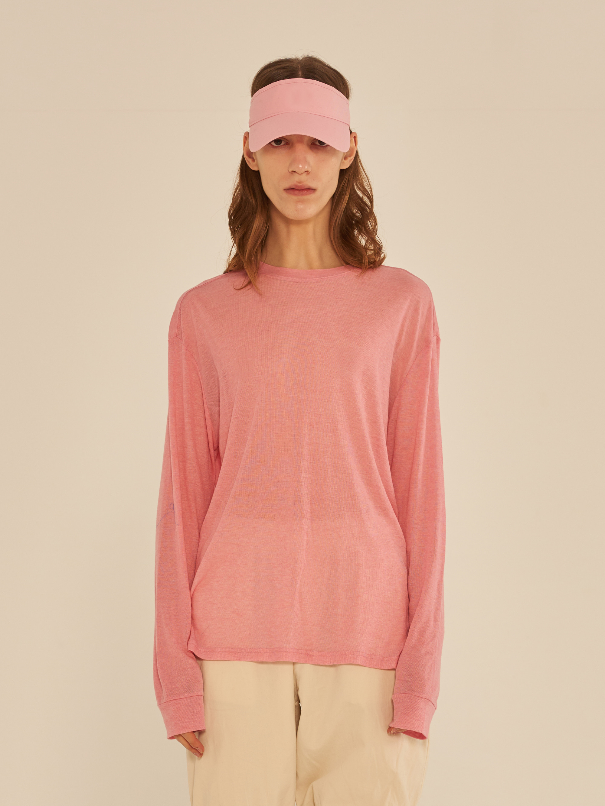 LONG SLEEVE SEE-THROUGH T-SHIRT (PINK)