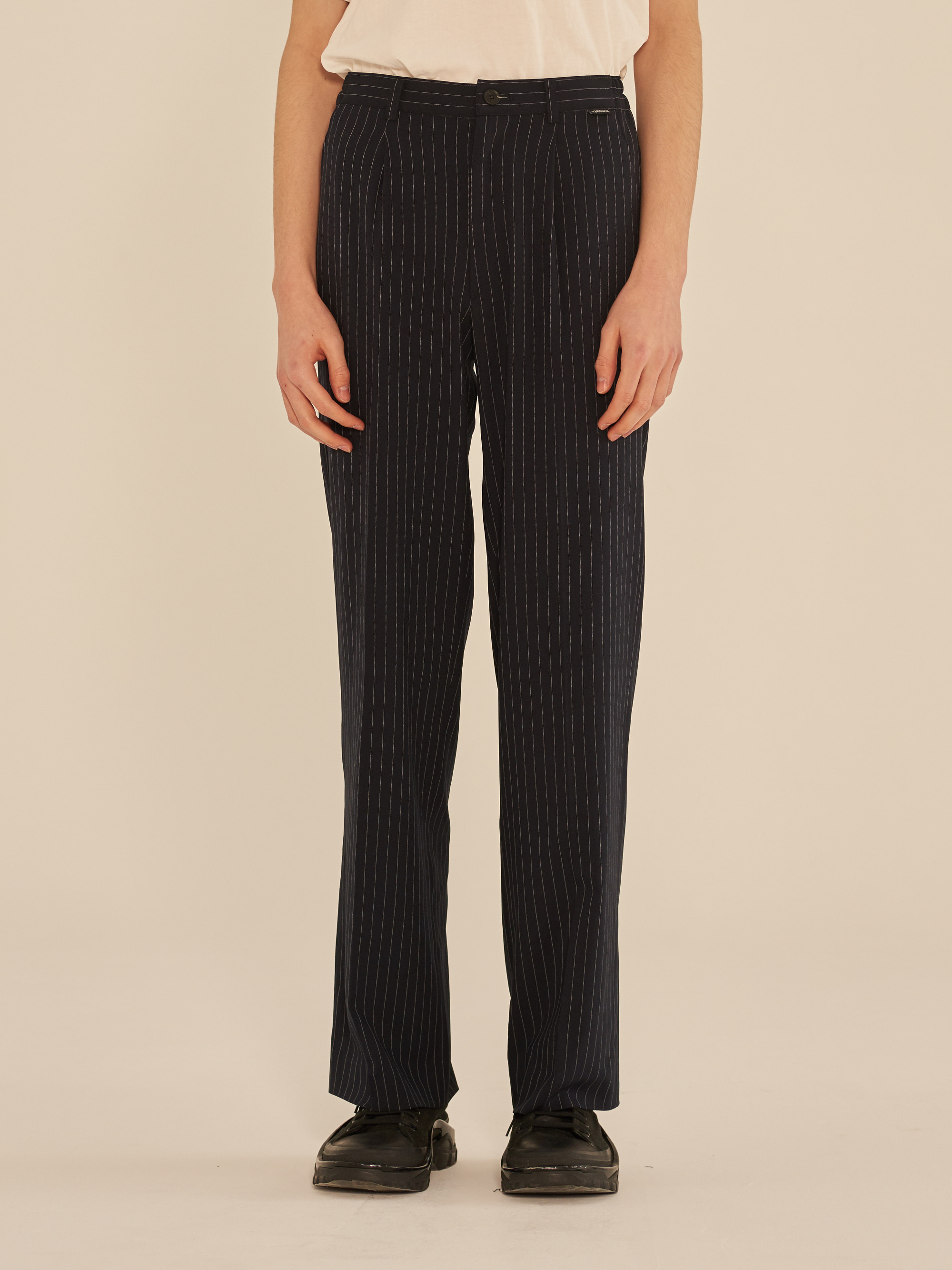 STRIPE WIDE SLACKS PANTS (NAVY)