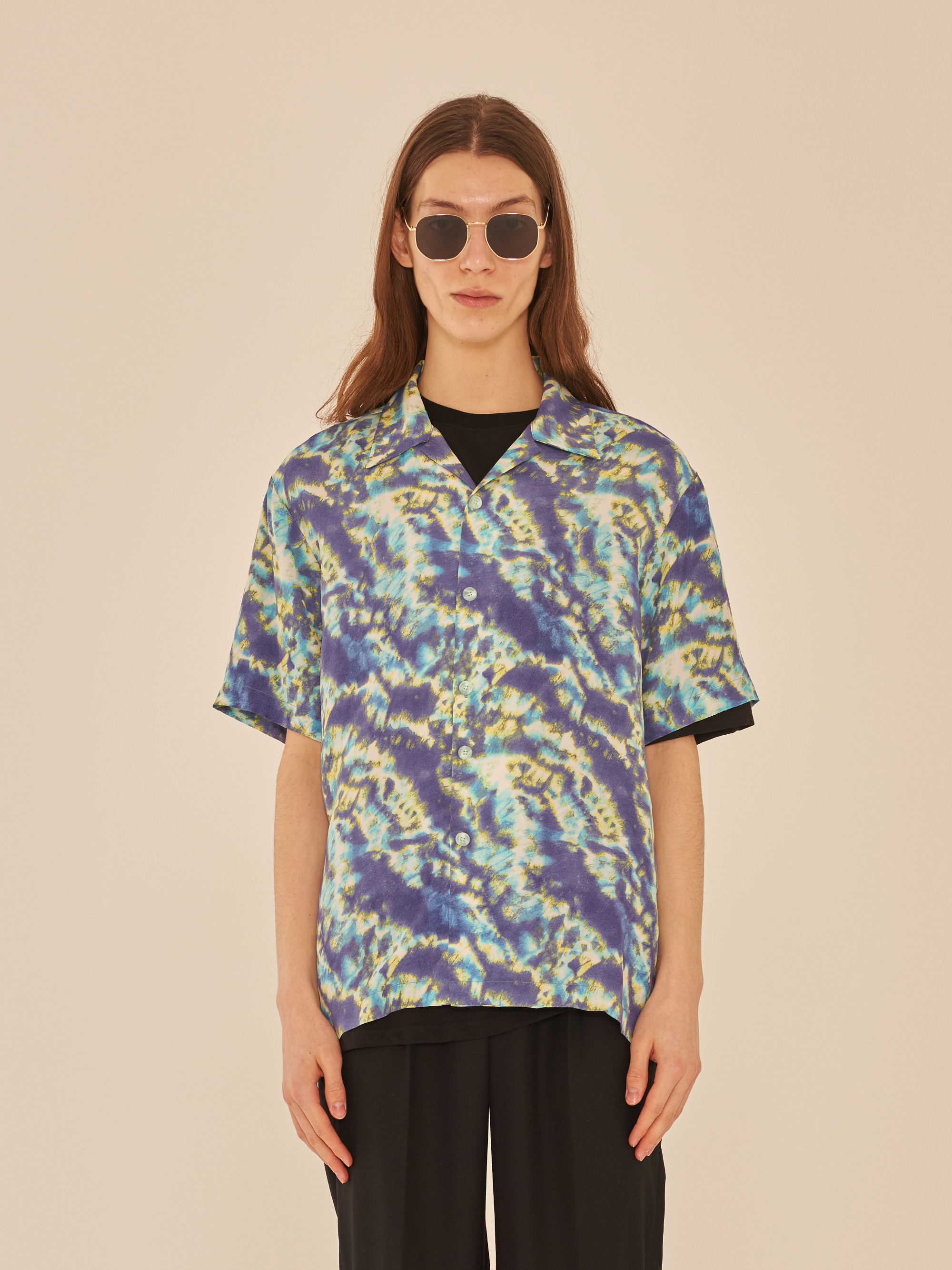 SHORT SLEEVE TIE-DYE SHIRT (BLUE)