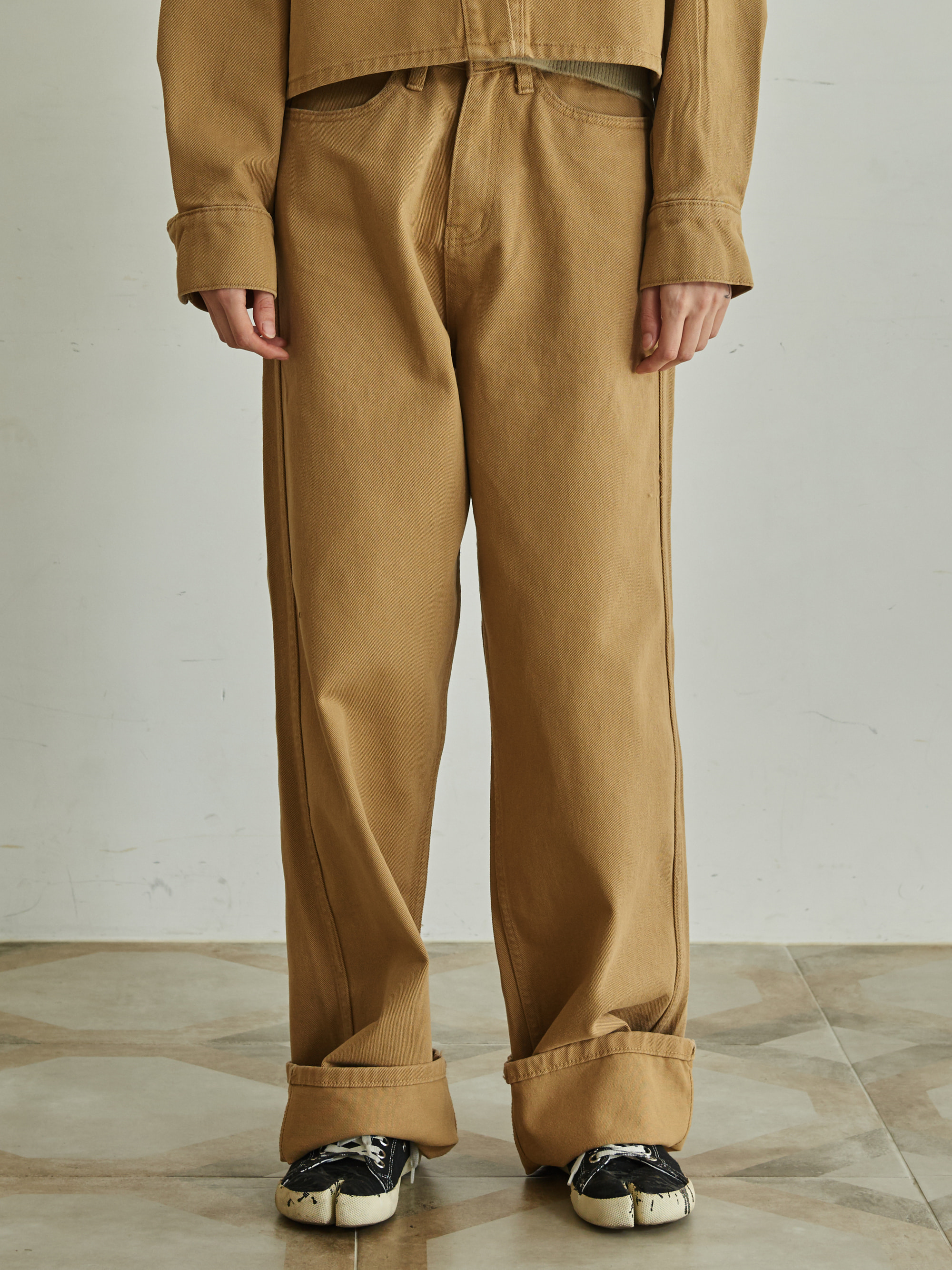DENIM SETUP PANTS (CAMEL)