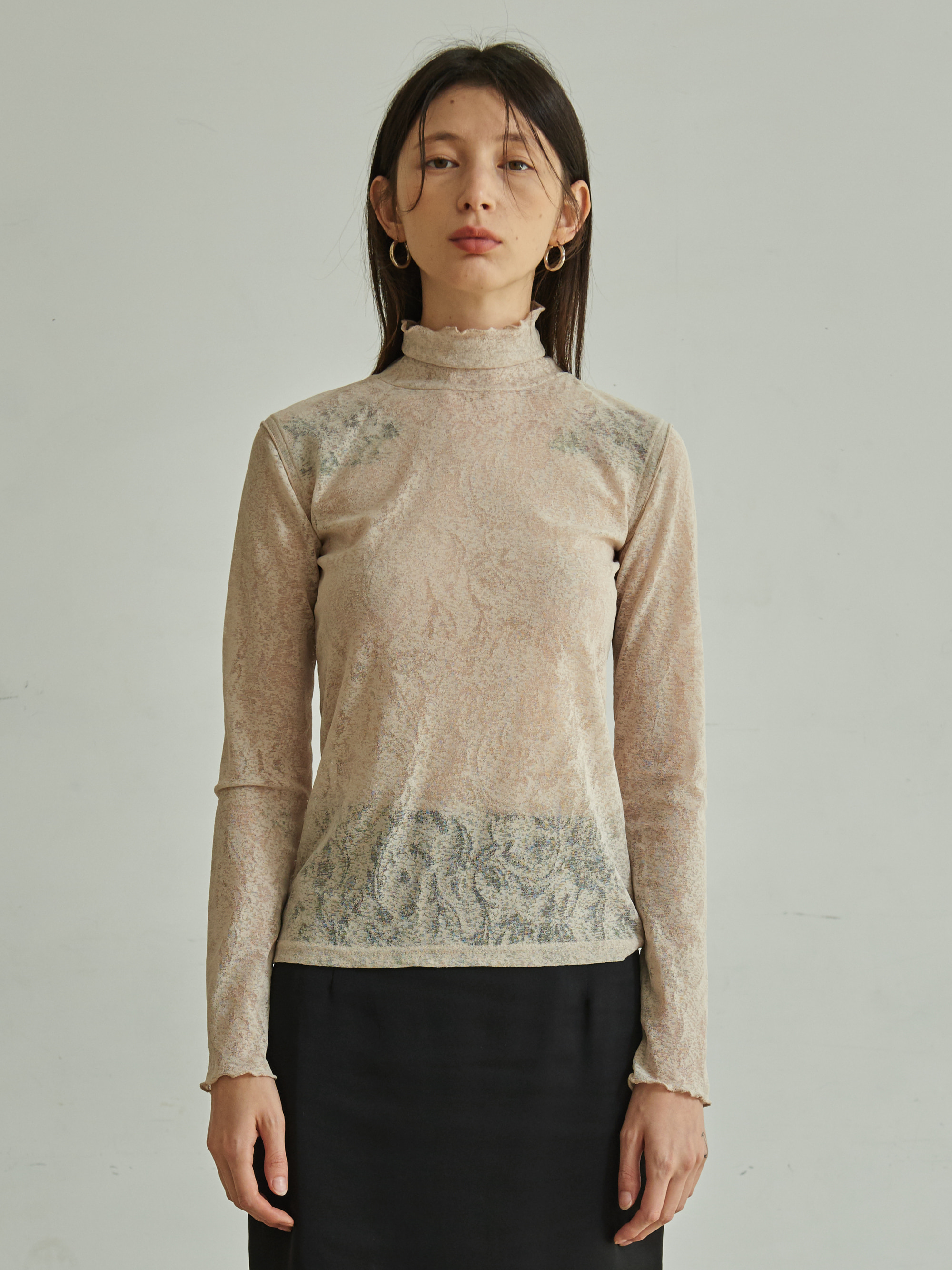 MESH TURTLE NECK T-SHIRT (IVORY)