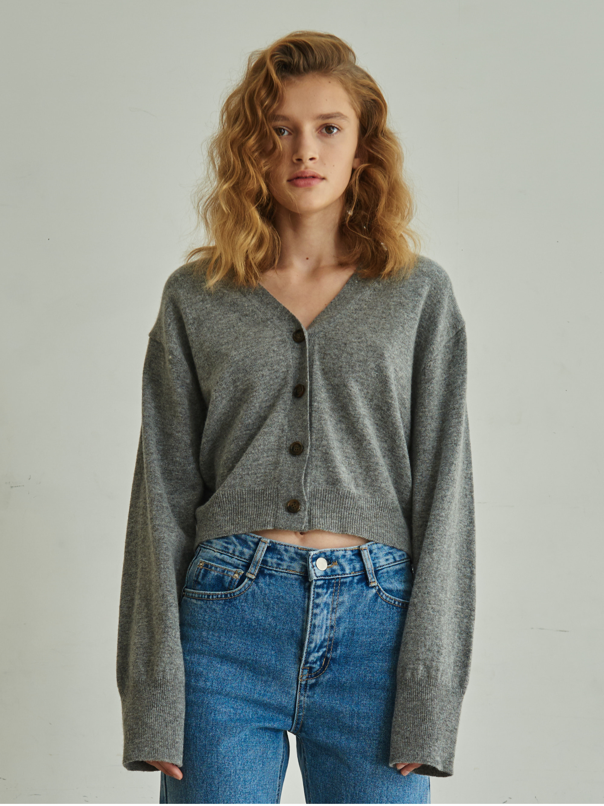 LONG SLEEVE CROP CARDIGAN (GRAY)