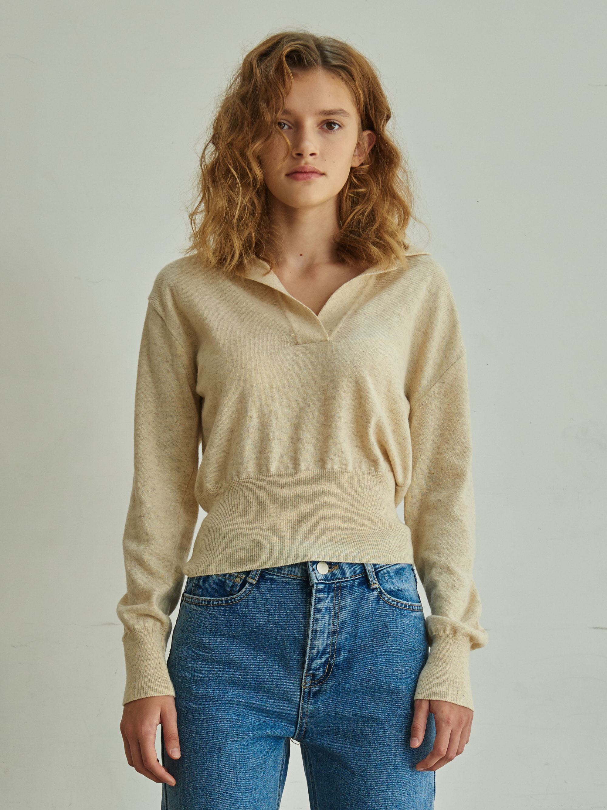 COLLARED KNIT TOP (BEIGE)
