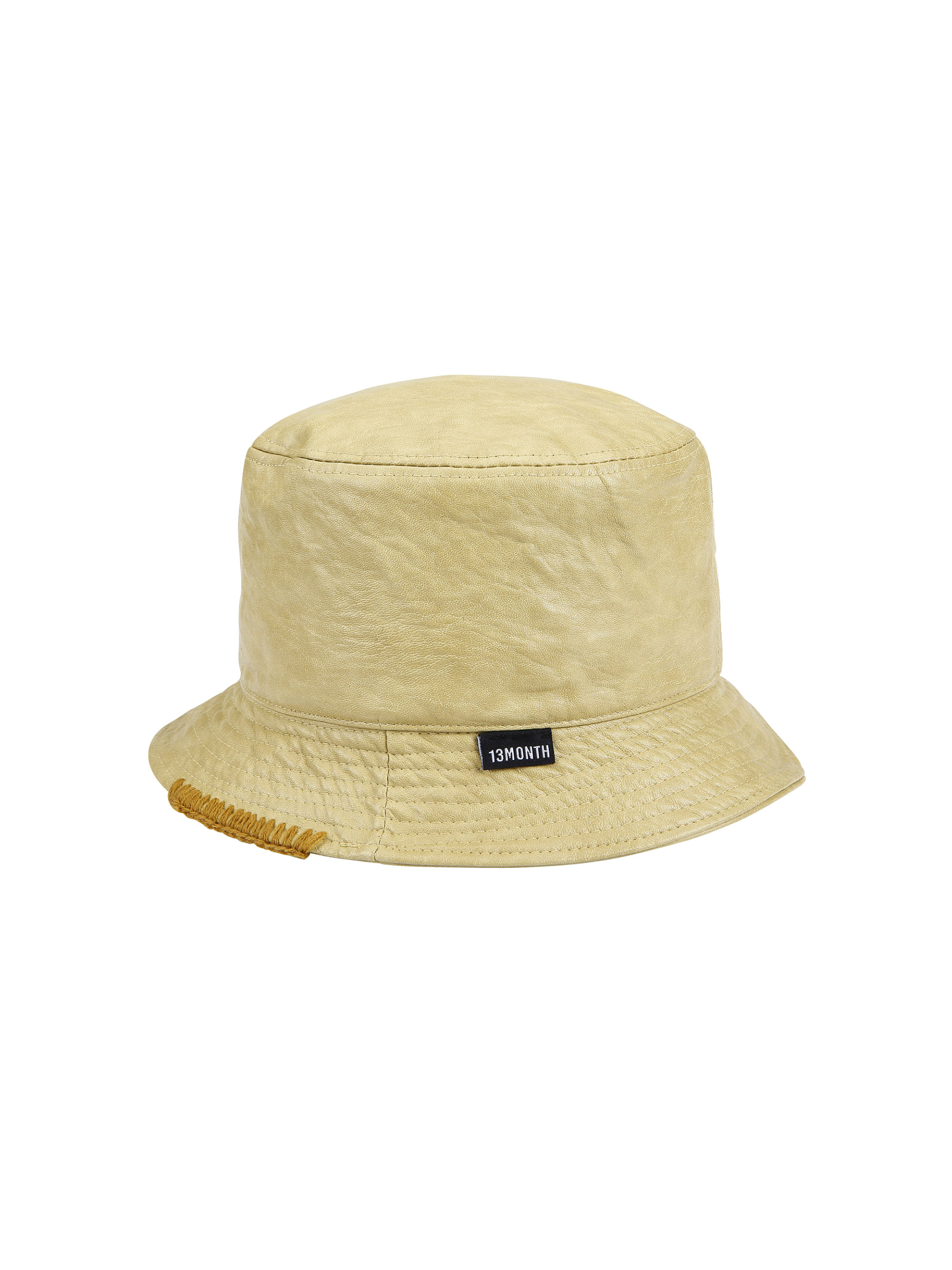 LEATHER BUCKET HAT (MUSTARD)