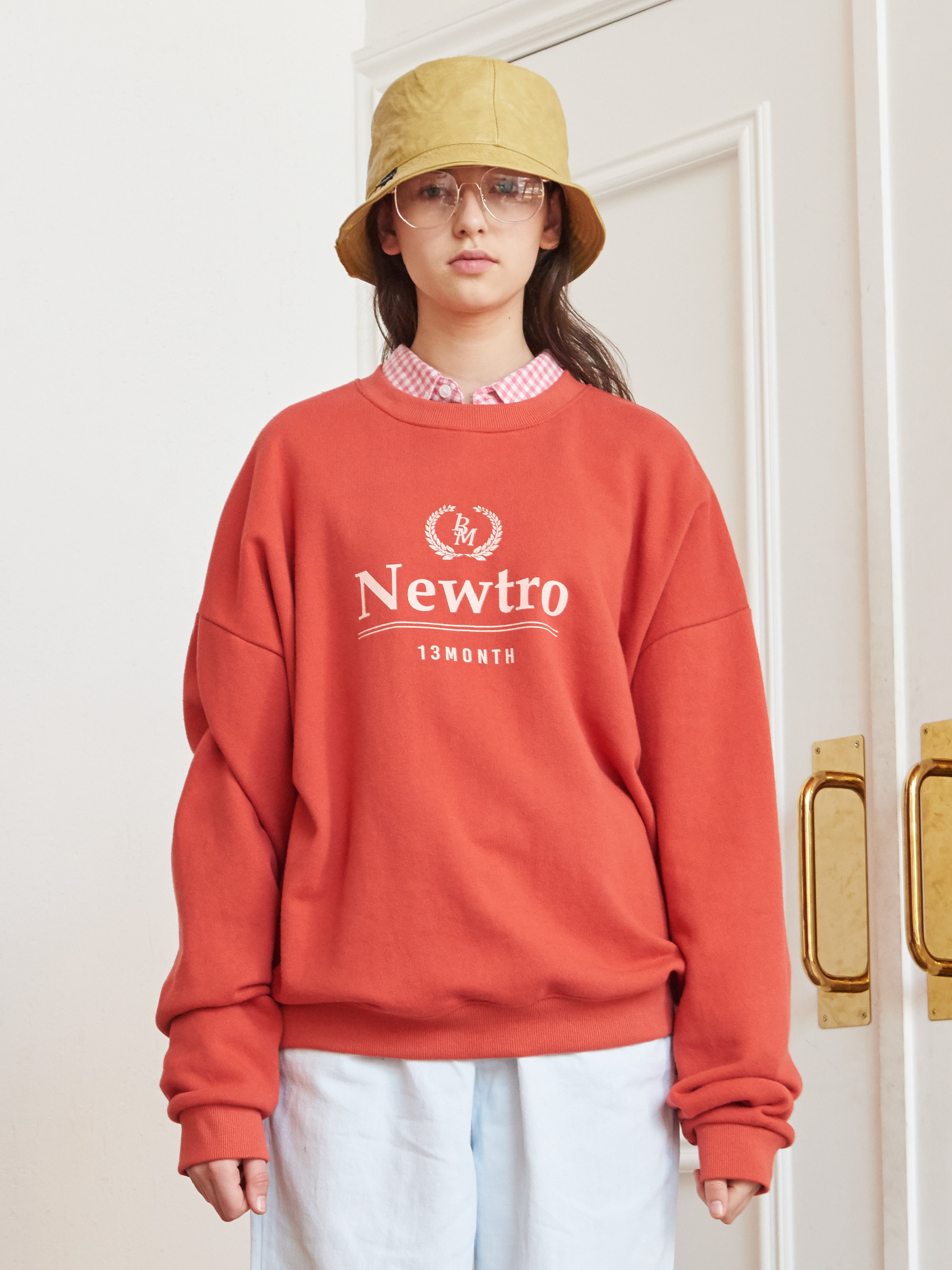 NEWTRO PRINTING SWEAT SHIRT (ORANGE)