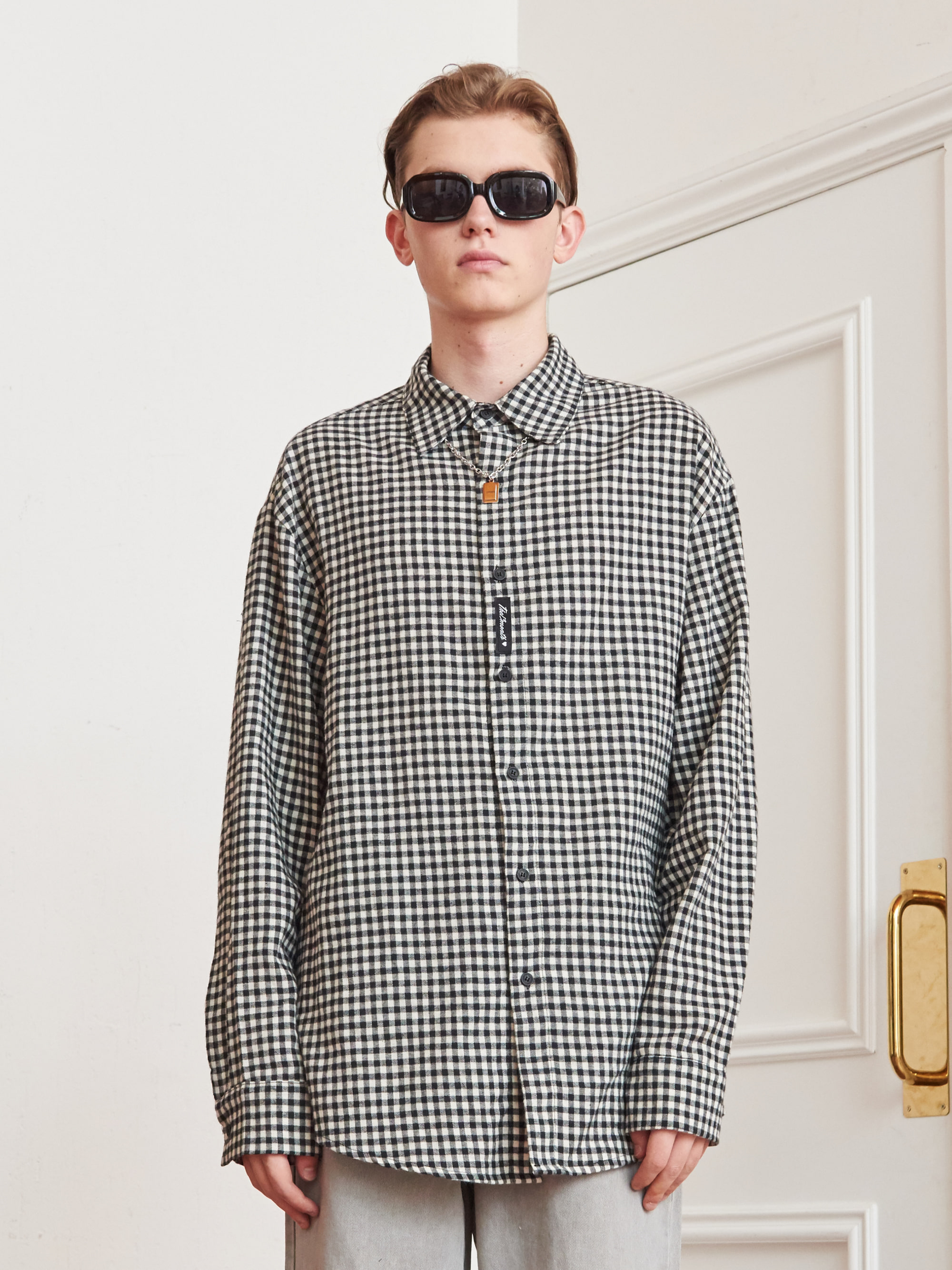 GINGHAM CHECK LONG SLEEVE SHIRT (BLACK)