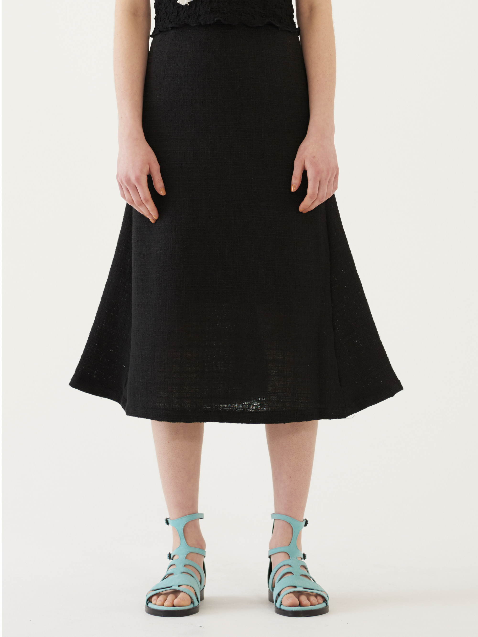 TWEED MIDI SKIRT (BLACK)