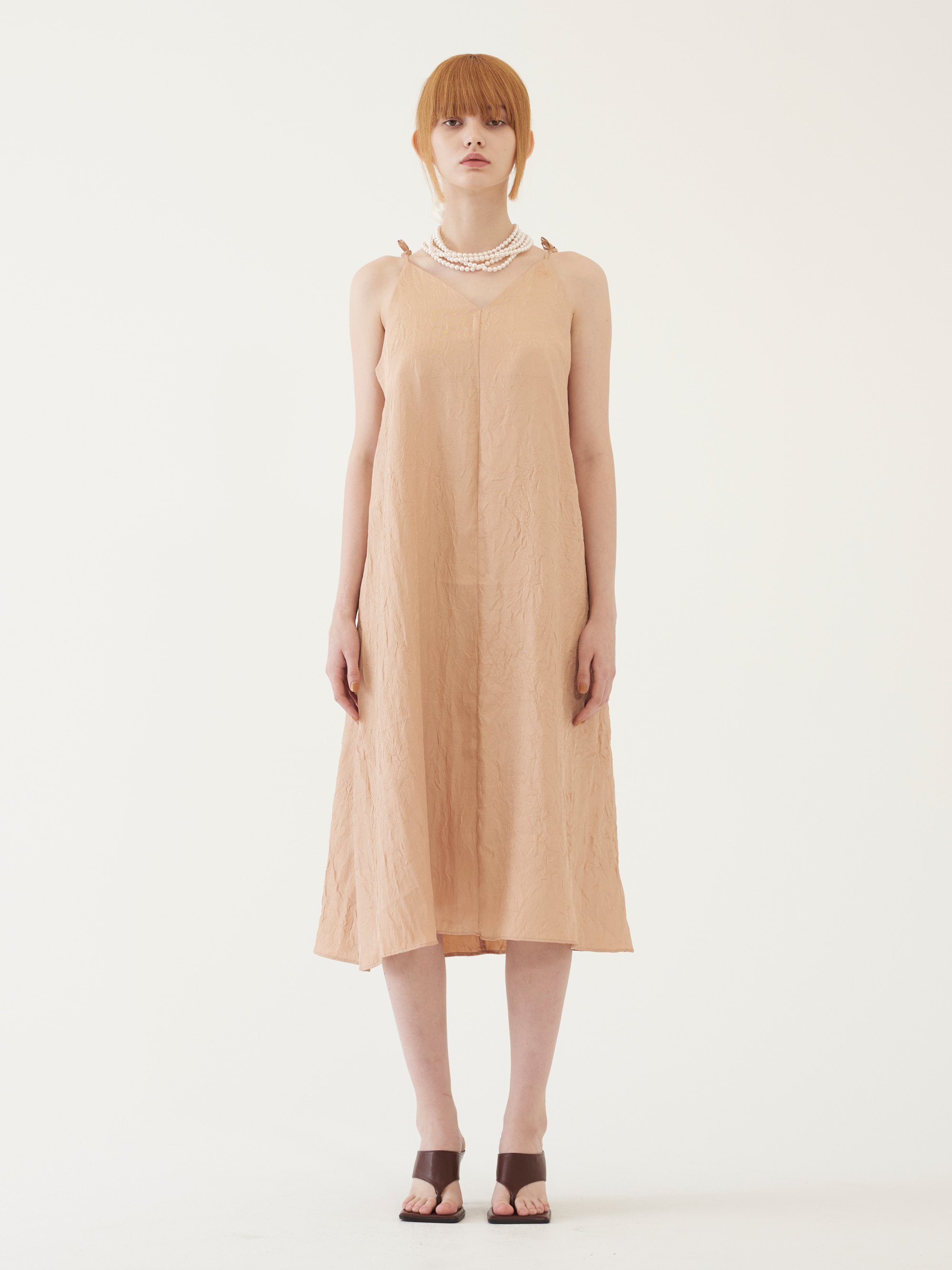 CASUAL SLEEVELESS DRESS (PEACH)