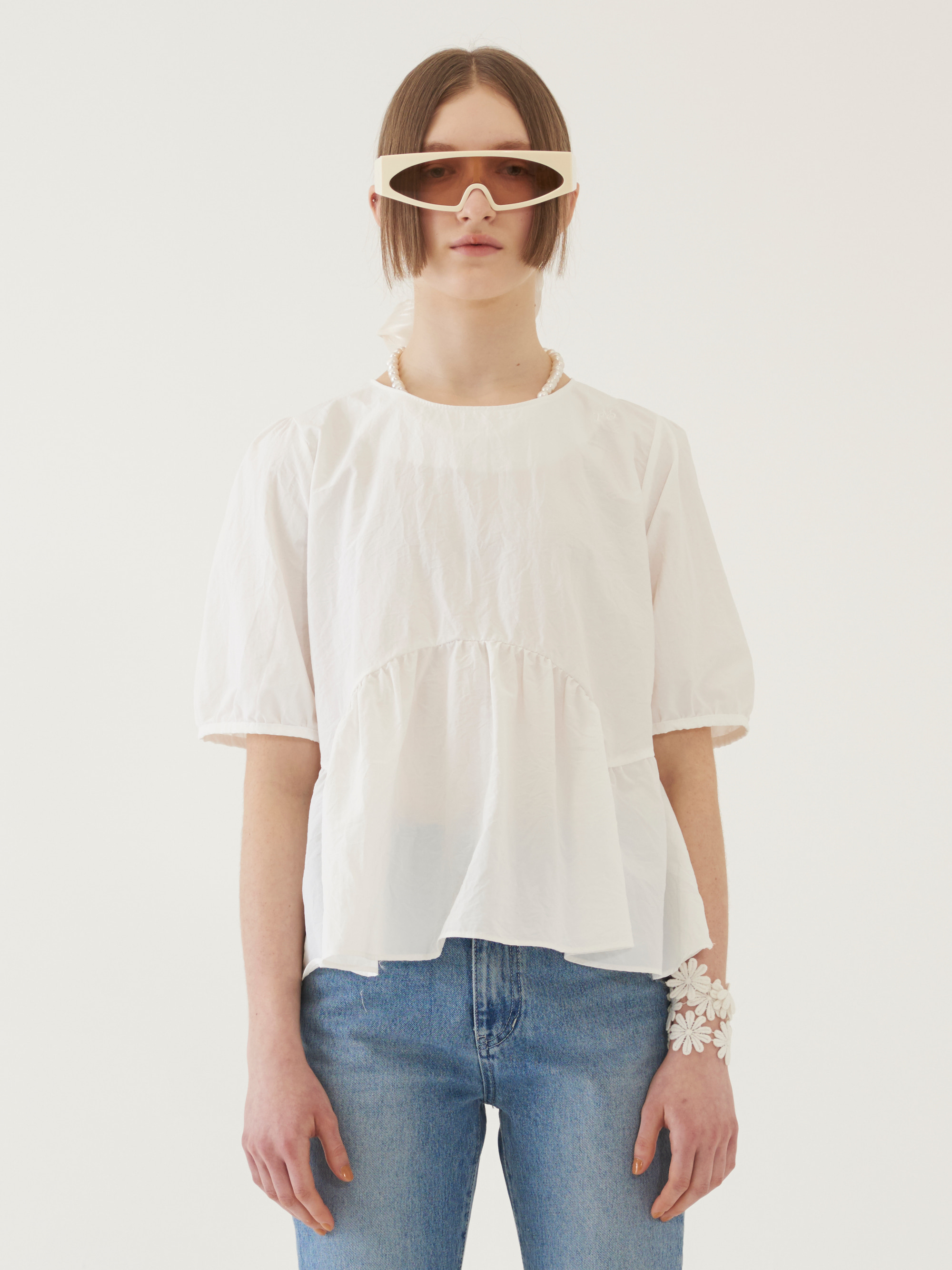 SHORT SLEEVE PUFF BLOUSE (WHITE)